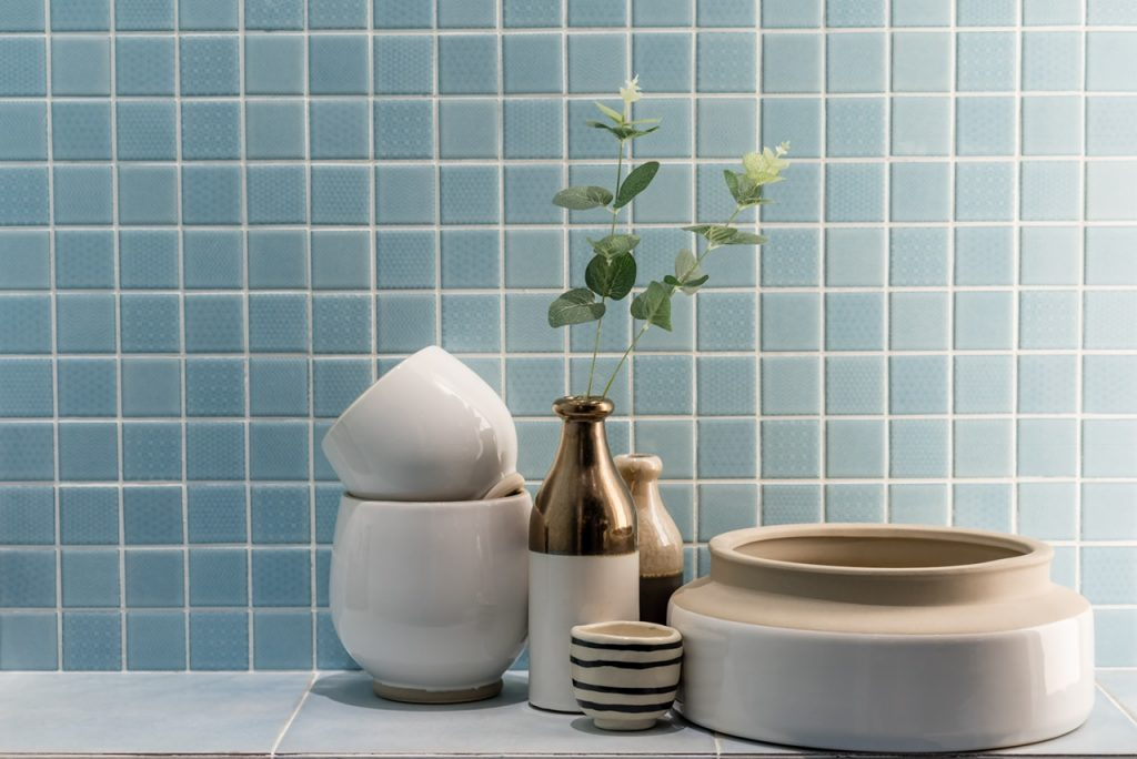 ceramic vase and bowl decoration in a bathroom