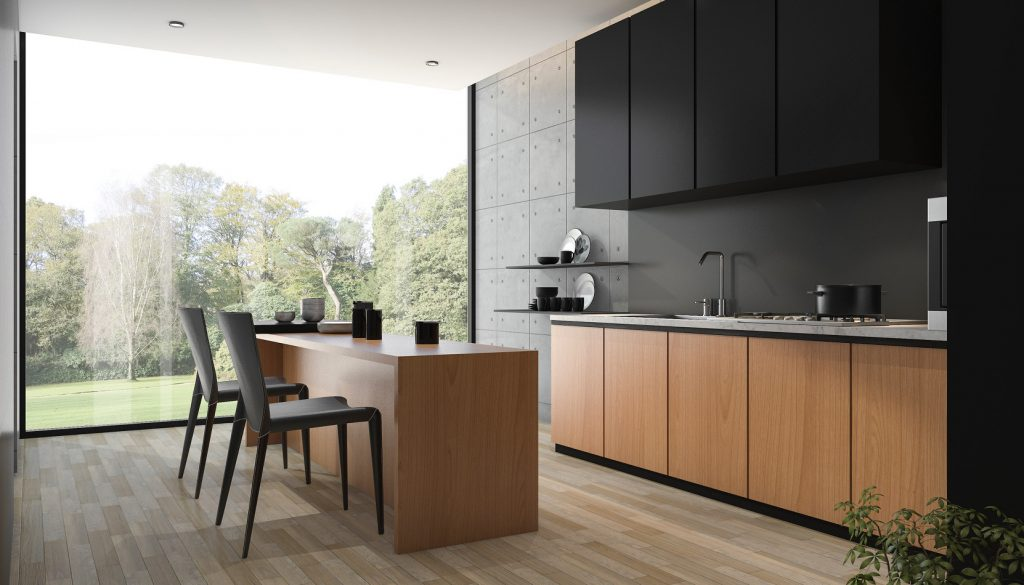 3d rendering modern black kitchen with wood built in